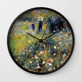 Auguste Renoir Femme avec parasol dans un jardin Wall Clock
