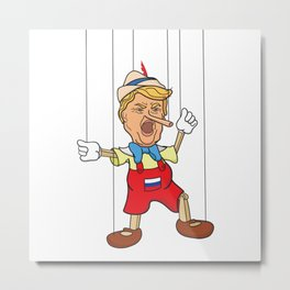 Donald Trump as Lying Pinocchio Puppet Metal Print