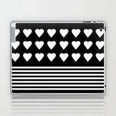 Heart Stripes White on Black Laptop & iPad Skin