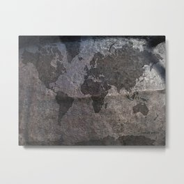 Gray metal - Organic World Map Series Metal Print