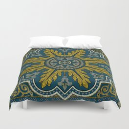 Blue and Gold Star Point Deco Duvet Cover