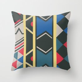 Ndebele red, yellow, blue Throw Pillow