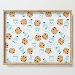 Milk and cookies pattern white cute kids decor boys or girls room design Serving Tray