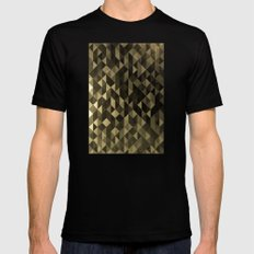 Gold triangles SMALL Black Mens Fitted Tee