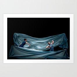 Dancing in rough blue waters Art Print