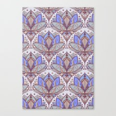 Art Deco Lotus Rising 2 - sage grey & purple pattern Canvas Print