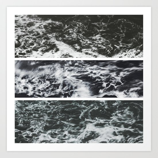 Saltwater Trytych Var II - blacks Art Print
