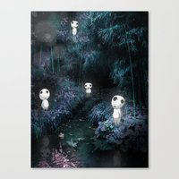 kodama Canvas Prints featuring Forest Spirits (Kodama) by pkarnold + The Cult Print Shop