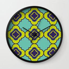 Quatrefoil - mint and blue Wall Clock