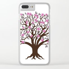 apple tree with pink blossom on the white background Clear iPhone Case