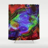 good vibes Shower Curtains featuring Good Vibes by Dawn Beck