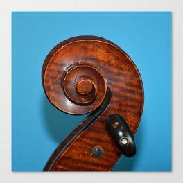 Cello Scroll Blue Canvas Print