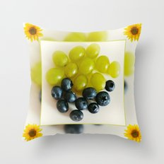 Grapes and Blueberries Throw Pillow