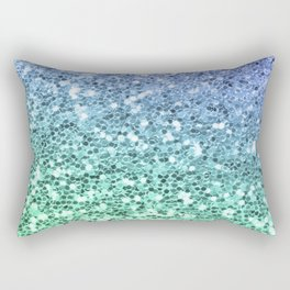 Glitter Sparkling Blue Green Turquoise Teal Rectangular Pillow