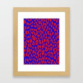 Bright Blue & Red Leopard Print Framed Art Print