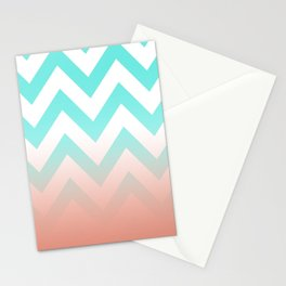 TEA CHEVRON CORAL FADE Stationery Cards