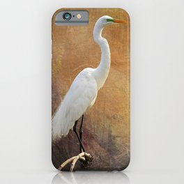 Great Egret with Texture iPhone Case