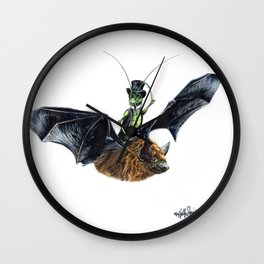 Rider in the Night.  Fantasy watercolor of a bat in the night with a cricket as his rider. Animal Wall Clock