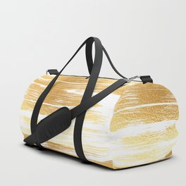 Abstract faux gold white modern paint brushstrokes Duffle Bag