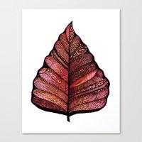 decal Canvas Prints featuring Modern leaf art   green leaves wall decal   botanical leaf decor   botanical leaves   leaf & plant by WestridgeART