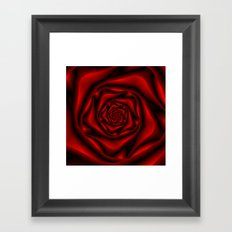 Rose Spiral in Black and Red Framed Art Print