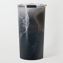 Waves on Black Sand Beach during Sunset in Iceland Travel Mug