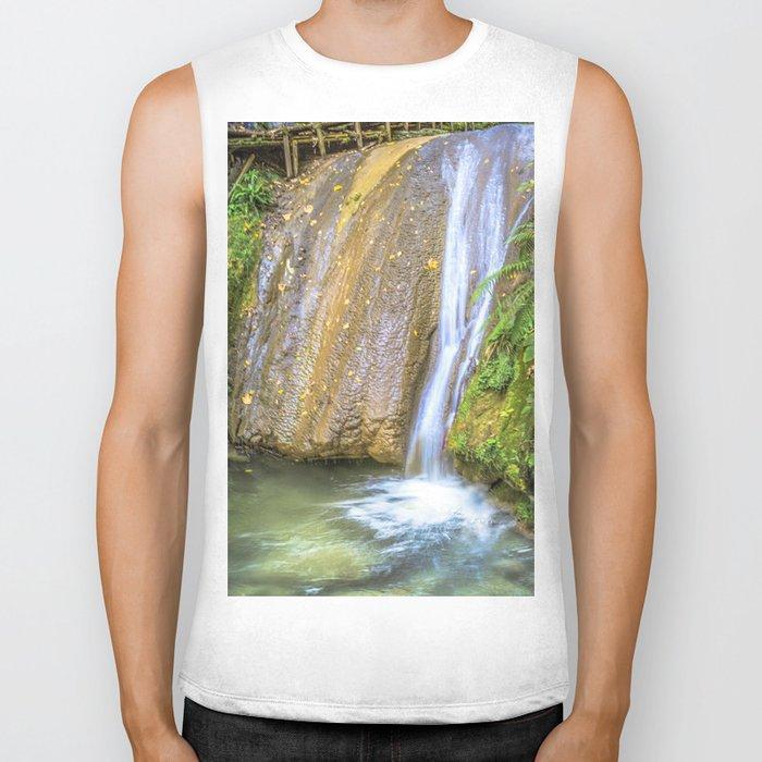 Autumn waterfall Biker Tank