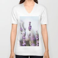 lavender V-neck T-shirts featuring Lavender by Julia Dávila-Lampe