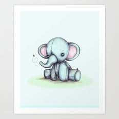 Elephant and Bee Plushie Art Print