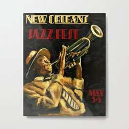 Vintage New Orleans Jazz Festival Advertising Wall Art Metal Print