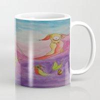 swimming Mugs featuring Swimming by Esmeralda Snaphaan