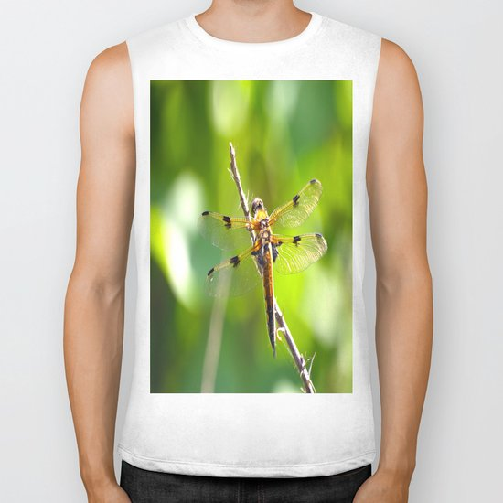 Dragonfly On A Branch Of A Rose Biker Tank