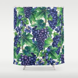 Watercolor grapes Shower Curtain