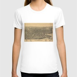 Vintage Pictorial Map of Plattsburgh NY (1899) T-shirt
