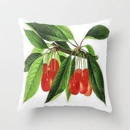 Red Cherries Vector on White Background Throw Pillow