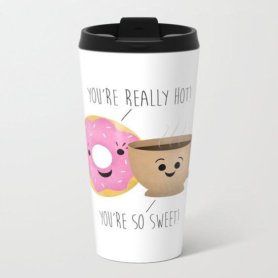 Donut and Coffee  |  Really Hot and So Sweet Metal Travel Mug
