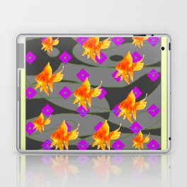 Decorative Gold Fish Modern Grey  Abstract Laptop & iPad Skin