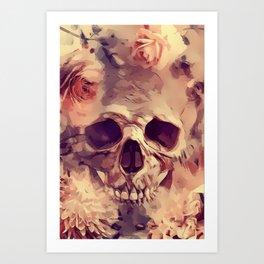 Flowery Pink Goth Rose Skull Art Print