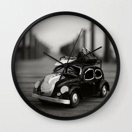Little Cars, Big Planet (BW) Wall Clock