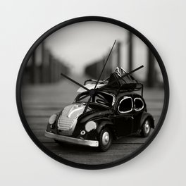 Little Cars, Big Planet (BW) Wall Clock