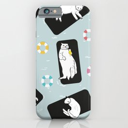 Hand Drawn Funny Cats Sunbathing iPhone Case