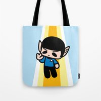 spock Tote Bags featuring Spock by Ziqi
