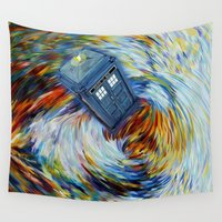 221b Wall Tapestries featuring Tardis doctor who jump into time Vortex by Three Second