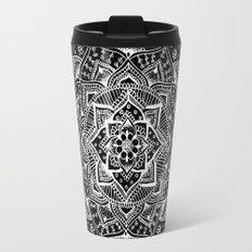 White Flower Mandala on Black Travel Mug
