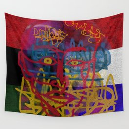RED, WHITE, & BLUE ON ONE SIDE & RED, BLACK, & GREEN ON THE OTHER Wall Tapestry