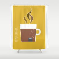 70s Shower Curtains featuring 70s Coffee by Morgane Cazaubon