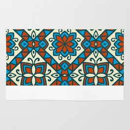 Decorative Floral Tribal Pattern 6 - Vesuvius, Cerulean and Cyprus Blue, Albescent White, Cream Rug