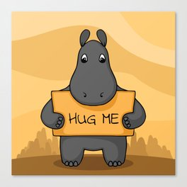 "Cute hand drawn Hippo with sign ""Hug me"" Canvas Print"