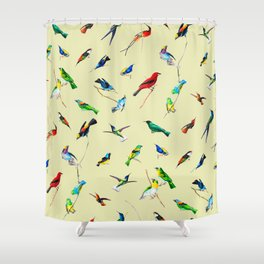 Yellow Birds Motif Shower Curtain