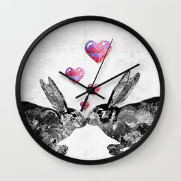 Bunny Rabbit Art - Hopped Up On Love 2 - By Sharon Cummings Wall Clock